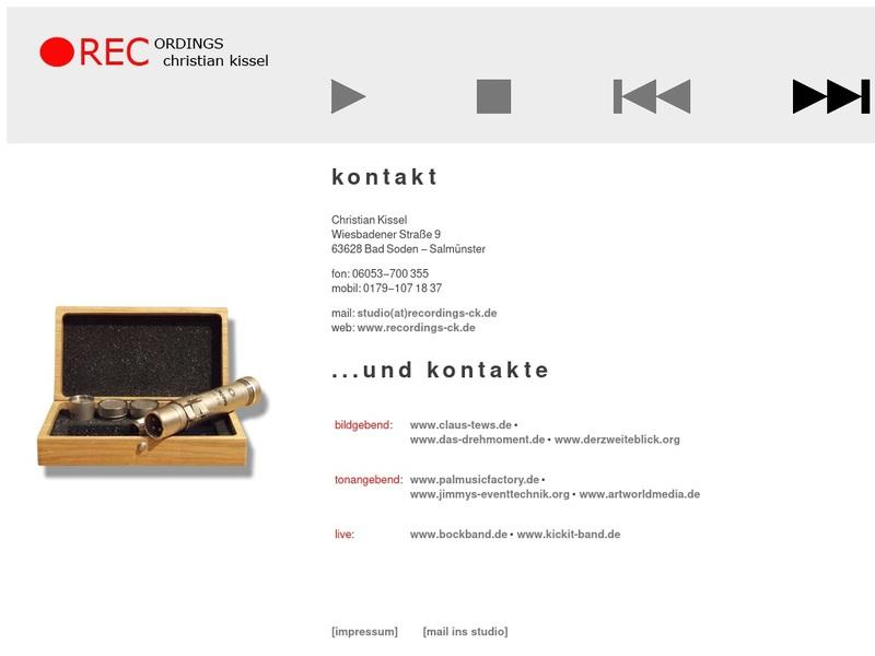 Screenshot von http://www.recordings-ck.de/kontakt.html